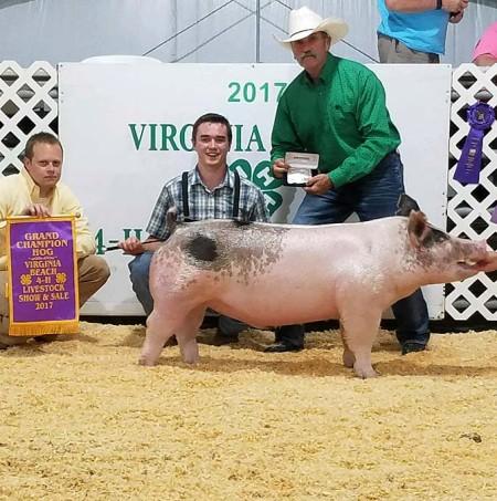 Parker Woodruff with the Grand Champion at the 2017 Virgina Beach, VA Livestock Show